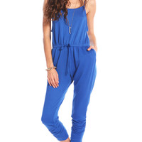 FRENCH TERRY DRAWSTRING JUMPSUIT - BLUE