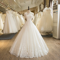 SL-5 Charming A-Line Short Sleeve Tulle Lace Appliques Wedding Dress 2017
