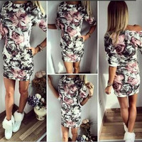 Hot Popular Floral Printed Floral Printed One Piece Dress _ 12002