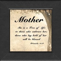 Mother Inspirational Saying Framed Gift(BR)for Encouragement and Appreciation For Mother's Day, Valentines Day, or Birthday. Easel Back for Desktop Standing.