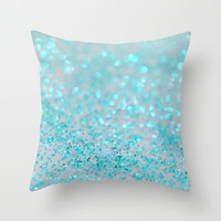 Sweetly Aqua Throw Pillow by Lisa Argyropoulos
