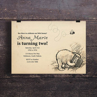 Instant Download-Classic Winnie the Pooh Vintage DIY Printable Birthday Party Baby Shower Wedding Bridal Invitation Template