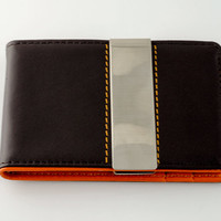Mens Leather Wallet Money Clip - Personalized - Engraved - Orange Brown - Gift for Man - Groomsman - Wedding Party - Gift For Him