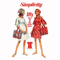 1960s Jiffy A Line Dress Bag and Scarf Pattern Simplicity 6912 Bust 32 Teen Beach Cover Up Carry All Kerchief Womens Vintage Sewing Patterns