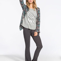 Full Tilt Essential Womens Cozy Flare Pants Charcoal  In Sizes