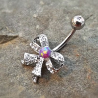 Bow Fire Opal Purple Belly Ring Cute Fits in Navel Body Jewelry Navel Piercing 14ga Fits in Navel
