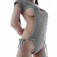 Sexy Virgin Killer Sweater Summer Slash Neck Backless Sweaters Japanese Cosplay Knitted Women Sweaters And Pullovers Sw04 Z30