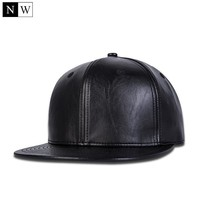 Trendy Winter Jacket High Quality Solid Brand Snapback Black Cap Faux Leather Cap Hip Hop Snapbacks Hat Men Women Black Snapback Adjustable Size AT_92_12