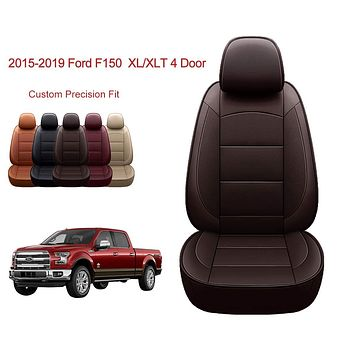 OASIS AUTO | 2015-2020 F150 Truck | 2017-2020 F250 F350 |Custom Fit PU Leather Seat Covers Full Set Compatible with Ford F-150 F-250 F-350 XL XLT Lariat Limited Platinum Pick up (Brown) 2015-2020 F150&2017-2020 F250/F350 BROWN