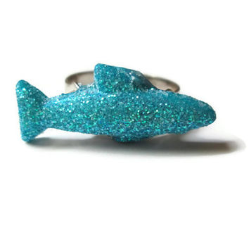 Adjustable Shark Ring, Blue Glitter Coating, Acrylic, Silver Toned Metal Ring Base
