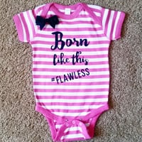 Born Like This - #Flawless - Striped Onesuit - Girls Onesuit -  Body Suit - Glitter  - Onesuit - Ruffles with Love - Baby Clothing - RWL Kids