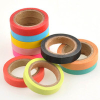 New 10pcs Candy Color Masking Adhesive Tape Washi Sticky Paper Scrapbooking Decorative Hot (Size: 0.7cm by 5m, Color: Multicolor) = 1958156676