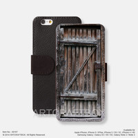 Vintage wood door iPhone leather wallet cover iPhone case Samsung Galaxy case 167