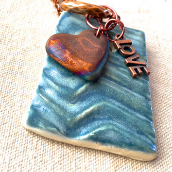 Teal Chevron Necklace essential oil diffuser necklace aromatherapy necklace raku ceramic beads long pendant necklace anniversary gift women