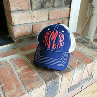 LOCAL for pick up only Monogrammed trucker hat, Distressed trucker hat,  monogrammed hats