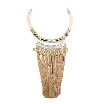 Fringe Crystal Bead Rose Gold Chain Braid Choker Necklace