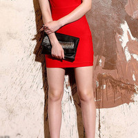 Red Bodycon Dress With Hollow Out Back and V Neck