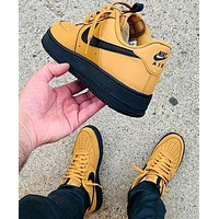 Nike Air Force 1 Low-top shoes brown yellow black soles