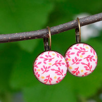 Pink Leverback Earrings - Pink Leaves - Yellow and White Romantic Fabric Covered Buttons Earrings