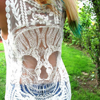 NEW Candy Skull Crochet Back Boho Tank Top - BeIge or Pink Lace Tank NEW