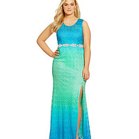 Jodi Kristopher Plus Sleeveless Ombre Lace Gown - Turquoise/Aqua