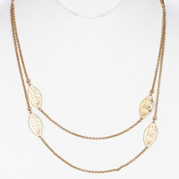 NECKLACE / LEAF / LAYERED / LINK / MATTE HAMMERED METAL / METAL CHAIN / 1 1/2 INCH DROP / 24 INCH LONG / NICKEL AND LEAD COMPLIANT