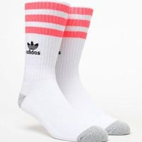 adidas Roller White & Pink Crew Socks at PacSun.com