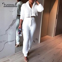 Fuedage Autumn Winter Knitting Sweater Two Pieces Set Long Sleeve 2 Piece Set Solid Drawstring Women Two Piece Outfits