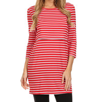 BellyMoms Red & White Stripe Maternity/Nursing Empire-Waist Dress | zulily