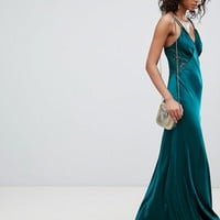 Ghost Satin Maxi Cami Dress With Lace Inserts at asos.com