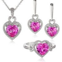 Sterling Silver Heart-Shape Created Pink Sapphire Diamond Ring, Earrings and Pendant Necklace Jewelry Set