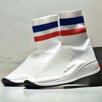Balenciaga high-top thick bottom soft breathable sports couple socks shoes White