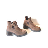 size 7.5 chunky LUG sole CHELSEA boots / vintage early 90s GRUNGE brown leather slip on hiking ankle booties
