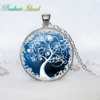 TREE OF LIFE Pendant  Tree of life Necklace Purple  Green Turquoise White Silver Jewelry Necklace for him  Art Gifts for Her(P3H03V05)