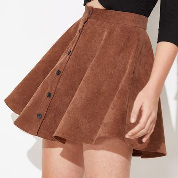 Button Up Flare Cord Skirt