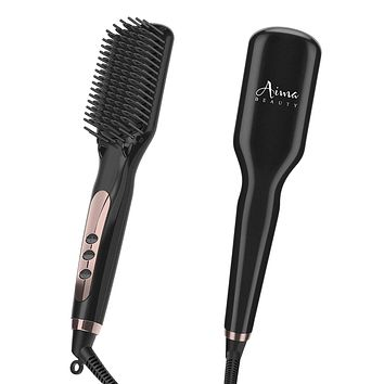 Ionic Hair Straightener Brush Electrical Heated Straightening Comb for Thin, Thick, Curly Hair,