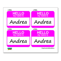 Andrea Hello My Name Is - Sheet of 4 Stickers