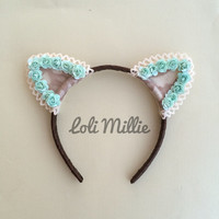 Mint Floral Cat Ears - Headband Kawaii Nekomimi Fairy Sweet Lolita Gyaru Rave Halloween