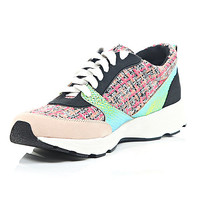 River Island Womens Pink panelled lace up sneakers