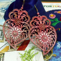 Portuguese folk PINK heart Viana rose earrings filigree big heart dangle jewelry made in Portugal