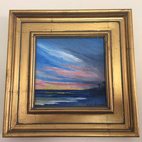 Seascape at Dusk -  Original Acrylic Art  6 X 6 on Canvas Board Framed size 9 1/2 X 9 1/2