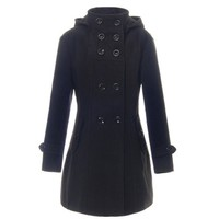 Good Quality Lady Long Winter Jackets Parka Coats Outerwear Women Hooded Double Breasted Trench Wool Coat
