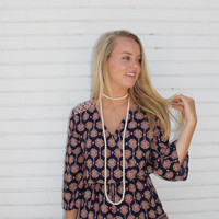 Beaded Double Wrap Necklace - Sand, White