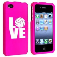 Apple iPhone 4 4S Hot Pink Rubber Hard Case Snap on 2 piece Love Volleyball