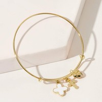 Cross & Heart Charm Bangle Bracelet 1pc