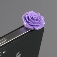ZuGadgets 3.5mm Plug Purple Rose Flower Earphone Jack Accessory Plug / Ear Cap / Anti-dust Plug /Dust Stopper for iPhone,S3,HTC,Mobile Phones with 3.5mm Jack (7756-24)