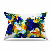 "Sonal Nathwani ""Blue Orange Floral"" Abstract Watercolor Pillow Case"