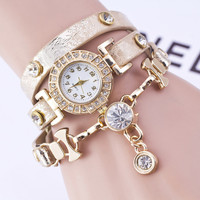 Women's Rhinestone Watches with Leather Wrap Bracelet Quartz Wrist