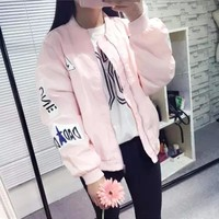 2017 Spring and Autumn Pink Bomber Jacket Women BF style Embroidery Letters Casual Loose army Jackets