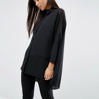ASOS Oversized Blouse With Sheer Inserts at asos.com